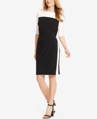 American Living Colorblocked Popover Dress Black Cream