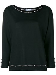 Blumarine Pearl Embellished Knitted Top Black