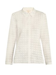 Rebecca Taylor Point Collar Floral Lace Blouse White