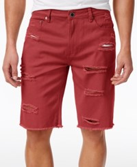 Lrg Men's Big And Tall On Deck Destroyed Denim Cotton Shorts Red
