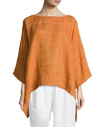 Eskandar Boat Neck Linen Tunic Top Rust