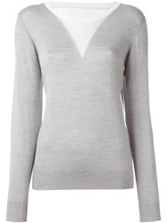 Opening Ceremony Contrast Panel Fine Knit Sweater Grey