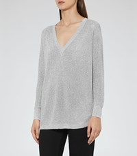 Reiss Bless Womens Metallic Jumper In Grey