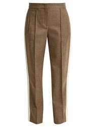 Fendi Side Stripe Wool Blend Twill Trousers Grey