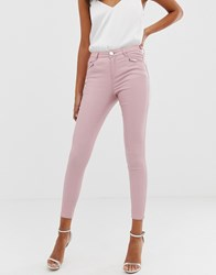 Lipsy Coated Skinny Jeans In Pink Cream