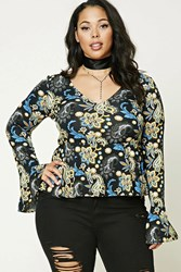 Forever 21 Plus Size Paisley Peplum Top Black Blue