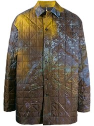Oamc Foliage Print Coat Yellow