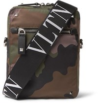 Valentino Garavani Leather Trimmed Camouflage Print Canvas Messenger Bag Army Green