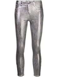 L'agence Cropped Metallic Trousers Silver