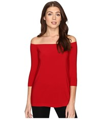 Norma Kamali Off Shoulder Top Red Women's Clothing