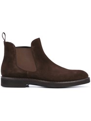 Santoni Chelsea Boots Men Leather Foam Rubber Calf Suede 8 Brown