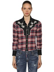 Dsquared Rodeo Cotton Plaid Shirt Red Blue White