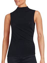 T Tahari Cecily Solid Sleeveless Top Black