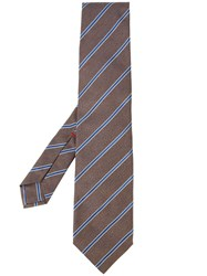 Isaia Contrast Stripe Tie Brown