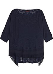High Doily Navy Fringed Stretch Lace Top