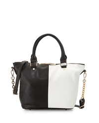 Neiman Marcus Small Faux Leather Colorblock Satchel Black White
