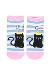 Forever 21 Cat Graphic Striped Socks Baby Blue Pink