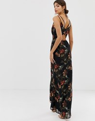 Hope And Ivy Floral Cami Open Back Maxi Dress Navy