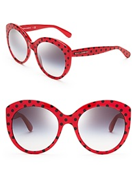 Dolce And Gabbana Polka Dot Oversized Cat Eye Sunglasses Red Black