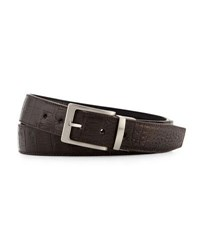 W. Kleinberg Reversible Crocodile And Leather Belt Two Buckle Box Set Black Brown