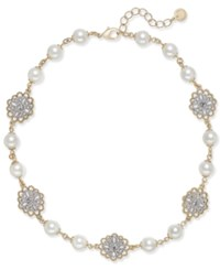Charter Club Two Tone Crystal Filigree And Imitation Pearl Collar Necklace Created For Macy's Gold