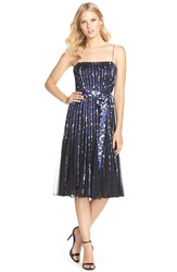 Js Collections Print Satin And Mesh A Line Dress Sapphire