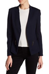 Carmen Carmen Marc Valvo Long Sleeve Blazer With Zip Pockets Petite Blue