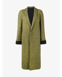 Haider Ackermann Houndstooth Virgin Wool Alpaca Blend Coat Black Yellow