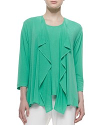 Caroline Rose Tropical Draped Jacket Petite Jade Aqua