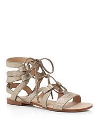 Splendid Cameron Metallic Gladiator Lace Up Flat Sandals Champagne