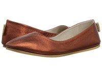 French Sole Sloop Flat Copper Silk Nappa Flat Shoes Gold
