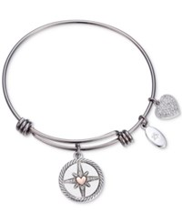 Unwritten Follow Your Inner Compass Crystal Compass Charm Adjustable Bangle Bracelet In Stainless Steel Two Tone
