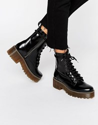 Monki Patent Chunky Lace Up Boots Black