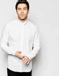 Vito Shirt With Micro Collar In Skinny Fit White