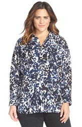 Vince Camuto 'Animal Spring' Print Long Sleeve Blouse Plus Size Black Orchid