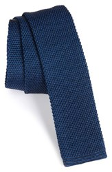 Boss Men's Solid Knit Silk And Cotton Skinny Tie Medium Blue