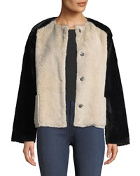 Velvet Ray Colorblock Structured Faux Fur Jacket Multi