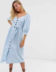 Moon River Puff Sleeve Button Through Midi Dress Blue