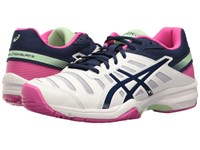 Asics Gel Solution Slam 3 White Indigo Blue Pink Glow Women's Tennis Shoes Yellow