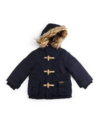 Ralph Lauren Childrenswear Faux Fur Trim Hooded Down Toggle Parka Aviator Navy Size 2T 7