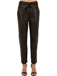 Veronica Beard Faxon Belted Straight Leg Leather Pants Black