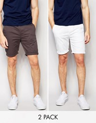 Asos Skinny Chino Shorts Mid Length In White Washed Black 2 Pack Save 17 White Washed Multi