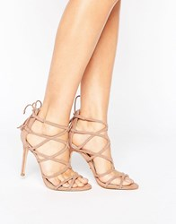 Lipsy Plaited Strappy Heeled Sandal Nude Pink