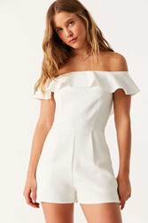 Oh My Love Waterlilly Off The Shoulder Ruffle Romper White