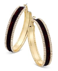 Thalia Sodi Gold Tone Metal Mesh And Crystal Hoop Earrings Only At Macy's Red With Black Lace