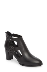 David Tate Exotic Caged Bootie Black Leather
