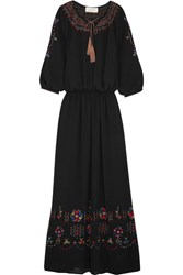 The Great Promenade Embroidered Crepe Maxi Dress Black