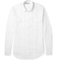 Gieves And Hawkes Linen Military Shirt White