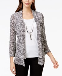 Alfred Dunner Textured Layered Look Necklace Sweater Black White