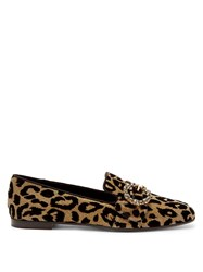 Dolce And Gabbana Crystal Leopard Print Jacquard Loafers
